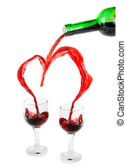 Heart from pouring red wine