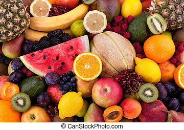 Fruits and berries - Collection of different fruits and...