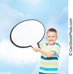 smiling little boy with blank text bubble