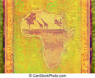 grunge background with African continent