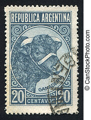 Bull Cattle Breeding - ARGENTINA - CIRCA 1935: stamp printed...