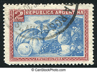 Fruit mix - ARGENTINA - CIRCA 1935: stamp printed by...