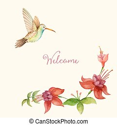 Hummingbird flying over a flower fuchsia, watercolor, vector...