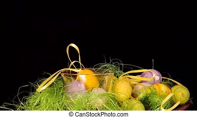 Easter decoration are rotated on the table.