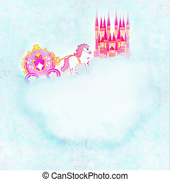 beautiful fairytale pink castle in the clouds