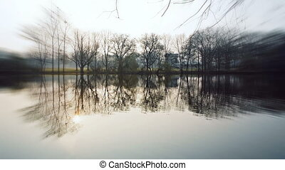Lake with zoom effekt - Lake at ostpark at sunny morning in...