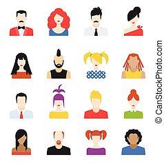 Set of avatar flat design icons - Big set of avatars profile...