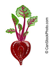 Beetroot illustration - Quilling stylized 3D beetroot...