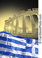 Parthenon temple with Greek flag on the Athenian Acropolis,...