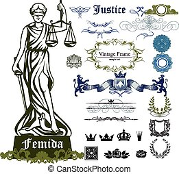 Femida ornamental set - Set of justice symbols, ornaments...