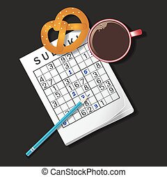 illustration of Sudoku game, mug of coffee and pretzel - top...