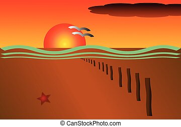 Vector drawing of an orange sunset at the beach with a row...