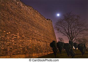Város,  Beijing, fal, liget, Hold, kína, csillaggal díszít, Éjszaka