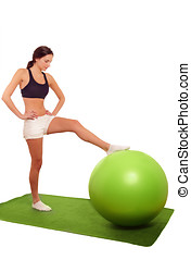 Woman gym ball exercise - Cute woman exercising with gym...