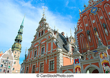 Famous House of Blackheads on the Town Square in Riga with a Chu