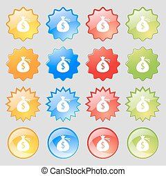 Money bag icon sign. Big set of 16 colorful modern buttons for your design. Vector