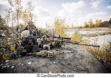 Soldiers team aiming at a target of weapons - Rangers team...