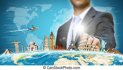 Businessman choosing his holidays - Businessman choosing his...