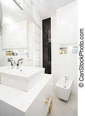 interior, de, blanco, cuarto de baño,