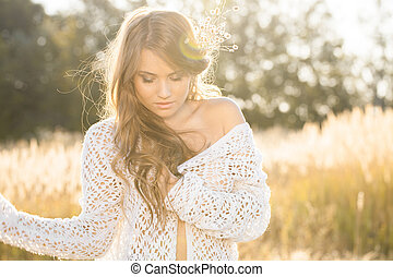 Beautiful young lady model in field at sunrise - Beautiful...