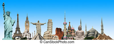 Ilustración, de, famoso, monumento, de, el, mundo,