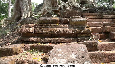 Ruined temple slider filming - Ruined temple in Angkor...