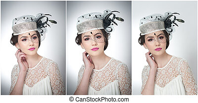 Beautiful girl with veil - Hairstyle and make up - beautiful...