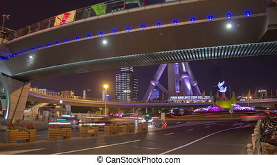 Shanghai night traffic timelapse - Pudong district in...