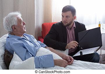 terminal, paciente, Hablar, con, notary,