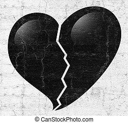 Broken black heart - Creative design of Broken black heart