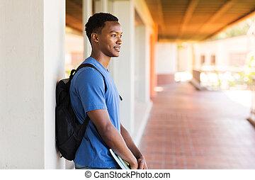 pensativo, macho, colegio, Estudiante, africano