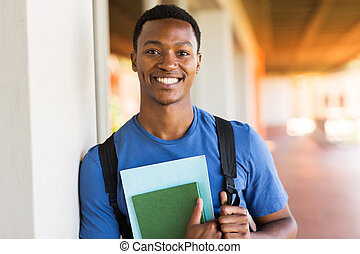 african male university student portrait - handsome african...