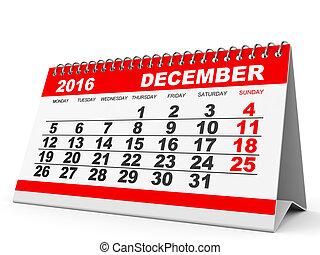 Calendar December 2016. - Calendar December 2016 on white...
