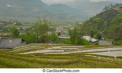 Rice terraces in Sa Pa zoom timelapse 03 - Sa Pa, is a...