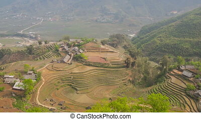 Rice terraces in Sa Pa zoom timelapse 02 - Sa Pa, is a...