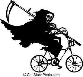 Grim Reaper on a Bicycle - Woodcut styled image of death as...