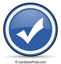 azul, ícone, cheque, aceitar, sinal