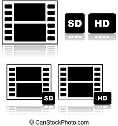 Standard and high definition movies - Icon set showing a...