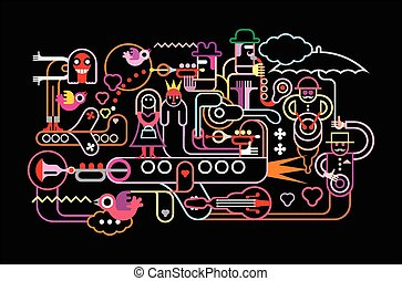 Music festival vector illustration Neon colors silhouettes...