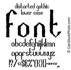 Handwritten black distorted gothic lower case alphabet with symbols