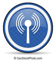 wifi, azul, ícone, sem fios, rede, sinal,