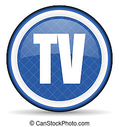 tv blue icon television sign