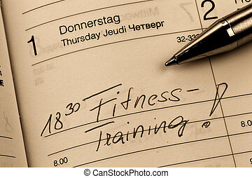 entry to the calendar exercising - an appointment is entered...
