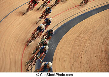 Cycling in a curve - St. Petersburg, Russia,7 August 2014...