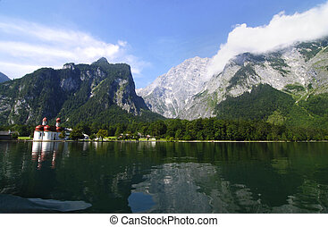 Mountain lake and church - Mountain lake konigsee in Alps...