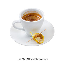 espresso coffee Cup of coffee with lemon - espresso coffee...