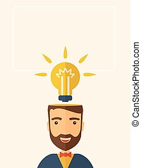 Bright idea of man - A Caucasian businessman with beard has...