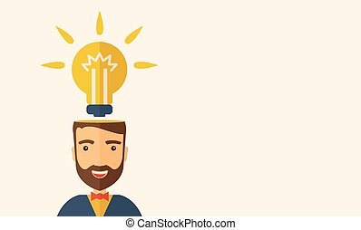Bright idea - A Caucasian businessman with beard has a...