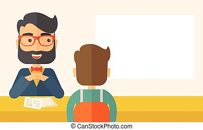 Job interview - A smiling Caucasian human resource manager...