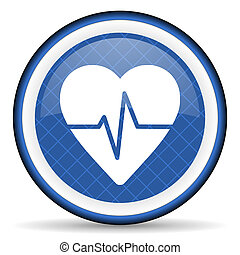 pulse blue icon heart rate sign
